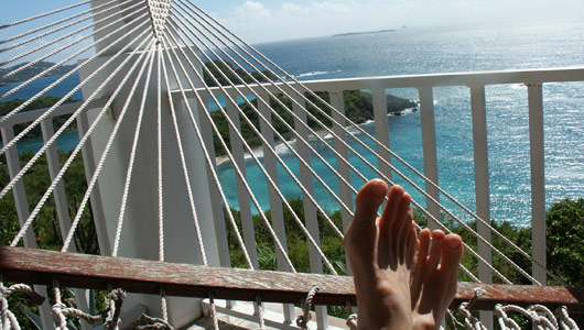 relaxing in a hammock in the Virgin Islands